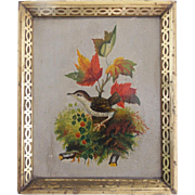 Late 19th C. Folk Art Oil Painting of Bird & Fall Foliage