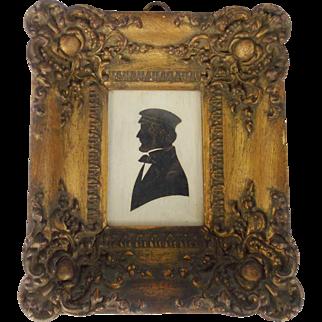 "Antique Mid 19th Century Folk Art Silhouette of ""My Dear William"" in Ornate Frame"