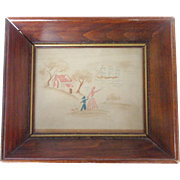 Vintage 1920's Folk Art Miniature Watercolor of Mother & Boy Waving Farewell to Ship