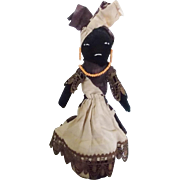 Vintage Primitive Folk Art Black Tin Can Doll - Red Tag Sale Item