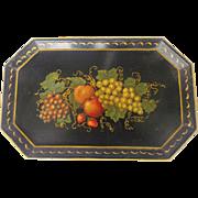 Vintage Folk Art  Octagonal Toleware Tray With Fruit Design