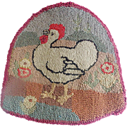 Vintage Folk Art Hooked Rug Chair Pad With Rooster & Flowers Design