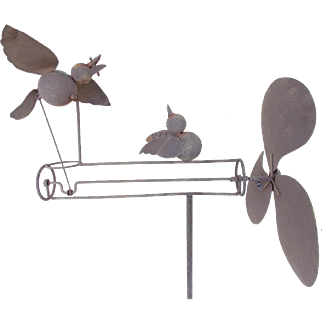 Vintage Primitive Folk Art Tin & Iron Mama Bird Feeding Baby Whirligig