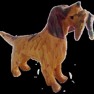 Vintage Hand Carved Maryland Folk Art Spaniel Dog Holding Pheasant #1