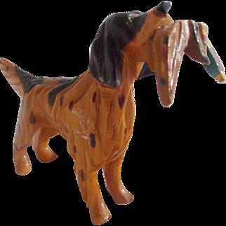 Vintage Hand Carved Maryland Folk Art Spaniel Dog Holding Pheasant #2