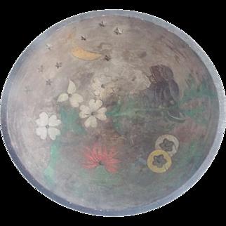 "Vintage 1920's-30's Primitive Folk Art 16 1/4"" Diameter Dough Bowl With Painted Scene of Owl Family"