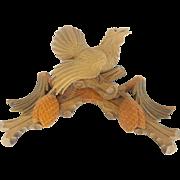 Vintage Hand Carved Black Forest Folk Art Cuckoo Clock Pediment Topper
