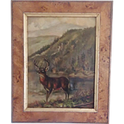 Early 1900's Folk Art Oil on Linen Painting of Deer by Mountain Lake