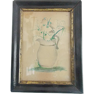 Diminutive Antique 19th C. PA. Folk Art Watercolor of Pitcher of Lilies of the Valley Flowers