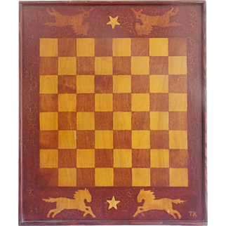 Vintage Folk Art Game Board with Leaping Horses & Stars Design From My Collection