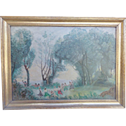 "Vintage Naive Folk Art Oil Painting of Bacchus & Romans Frolicking in the Forest Signed ""Wright"""