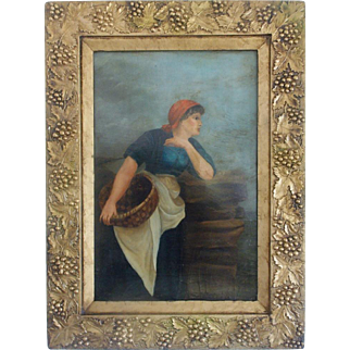 19th C. Folk Art Oil Painting of Young Peasant Woman with Basket Gazing Out to Sea