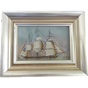 Vintage Americana Folk Art Reverse Painting on Glass of American Schooner Sailing Ship