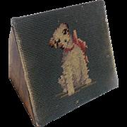 Vintage Folk Art Jack Russell Dog Design Needlepoint Doorstop
