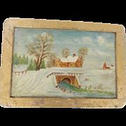Vintage Primitive PA. Folk Art Winter Scene Painting on old Slate Board