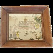 Diminutive Vintage Folk Art Watercolor & Ink Painting of Departing Riverboat