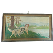 """Early 1900's Folk Art Painting of 2 Hunting Dogs Signed """"Roger P."""" From My Collection"""