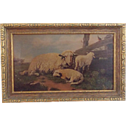 Antique Dated 1909 Signed Folk Art Oil on Canvas of Ewe Sheep & 2 Lambs