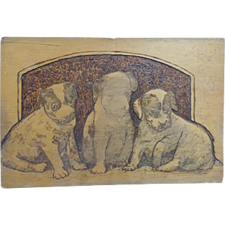 Early 1900's Folk Art Pyrography Picture of 3 Puppies