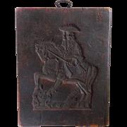 Vintage German Folk Art Wax Springerle Mold With Man on Horseback Design