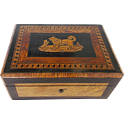 Antique Early 1900's Folk Art Inlaid Box With Dog & Puppy Design