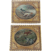 Pair of Early 1900's Folk Art Hunting Dog Paintings in Gilt Frames