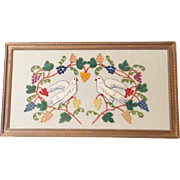 Vintage Folk Art Chenille Stumpwork Picture of 2 Doves Encircled with Grapevine