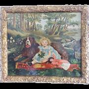 Vintage Naive Folk Art Painting of Little Girl & St. Bernard Dog