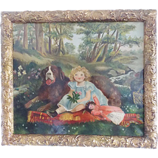 Vintage Naive Folk Art Painting of Little Girl & St. Bernard Dog