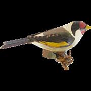 Vintage Hand Carved Folk Art European Goldfinch Bird Carving