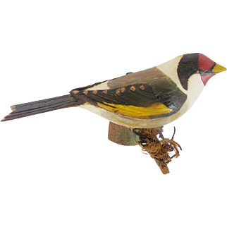 Vintage Hand Carved Folk Art European Goldfinch Bird Carving
