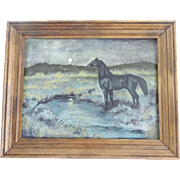 Vintage Folk Art Oil Painting of Horse in the Full Moon
