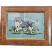 Antique Victorian Framed Border Collie Dog Berlin Work Embroidery From My Collection