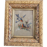Early 1900's Bluebird Berlin Work Embroidery in Fancy Antique Frame