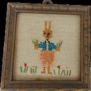 Diminutive Vintage Folk Art Framed Peter Rabbit Embroidery
