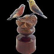 Early 1900's German Folk Art Bottle Topper With 2 Painted Birds
