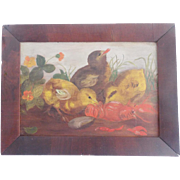 Early 1900's New England Folk Art Oil Painting of 3 Baby Chicks Eating Lobster Shell