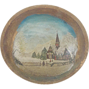 Early 1900's Primitive Folk Art Winter Church Scene Painting in Wood Bowl