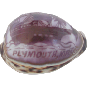 Vintage Folk Art Carved Cowrie Shell Souvenir of Plymouth, Mass. With Tall Ship