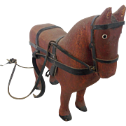 Vintage Hand Carved Folk Art Horse with Leather Reins & Bridle From My Collection