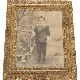 Antique C.1900 PA. Folk Art Charcoal Drawing of Boy and His Dog With Provenance