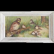 "Vintage Folk Art Painting of Bobwhite Quail Family Signed "" V. Pennington"""