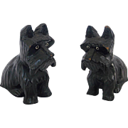 Pair of Diminutive Hand Carved & Painted Scottie Dogs