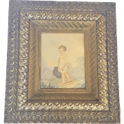 "Antique ""E. Ironside"" 1807 Folk Art Watercolor Outdoor Scene of Child With Hat"