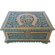 "Vintage Folk Art Painted Fretwork ""Good Luck"" Trinket  Box"