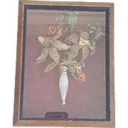 Antique Folk Art Bouquet of Beaded Flowers And Milk Glass Vase in Shadow Box Frame