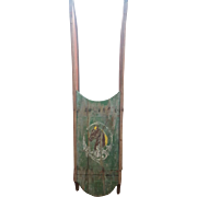 Early 1900's Primitive Folk Art Sled With Horse Portrait Design From My Collection