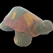 Vintage Primitive Folk Art Wooden Painted Turtle