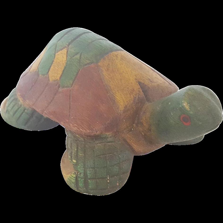 Vintage Primitive Folk Art Wooden Painted Turtle From
