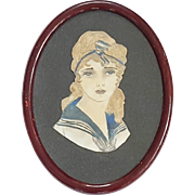 Vintage 1920's Folk Art Watercolor Portrait of Young Woman in Nautical Attire